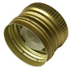 Aluverschluß PP31,5 gold mit Ölausgießer und Gewinde 31,5x24 Ausguss weich