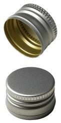 Aluverschluß PP18 silber mit Gewinde und Sicherungsring