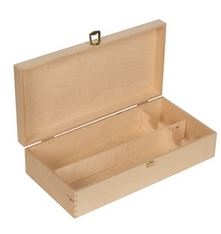 Holzkassette mit Klappdeckel 2x0,2 Platin m. Trennbl.