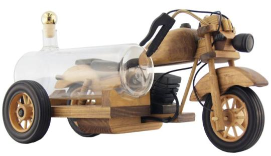 Motorrad mit Glastank 350ml natur