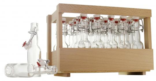Holzsteige mit 24 x Kropfhals 40ml inkl. Bügelverschluss, unmontiert inkl. Schmucketikett Adventskalender rot/weiß selbstklebend 1-24